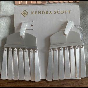 Kendra Scott Layne Statement Earrings Silver NEW